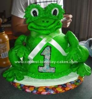 Homemade Froggie 1st Birthday Cake