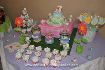Homemade Garden Bug Birthday Cupcakes and Cake