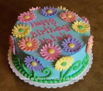 Homemade Gerber Daisy Birthday Cake