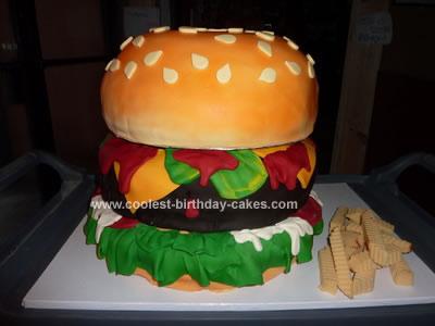 Homemade Giant Hamburger Birthday Cake