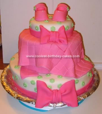 Homemade Girl Baby Bootie and Blanket Shower Cake
