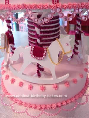 Homemade Girls Carousel Cake