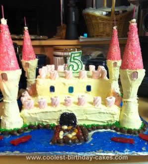Homemade Girl's Castle Birthday Cake