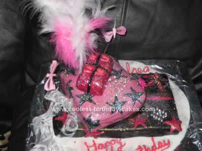 Homemade Glitzy Glam Present Birthday Cake Design