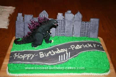 Homemade Godzilla Birthday Cake