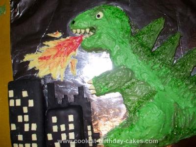 Homemade Godzilla Cake