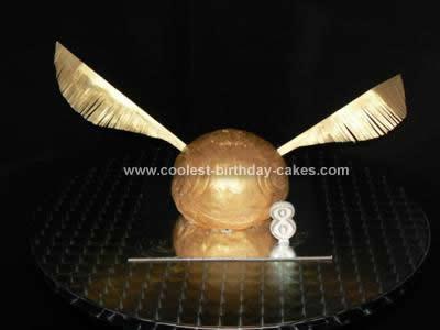 Homemade Golden Snitch Birthday Cake
