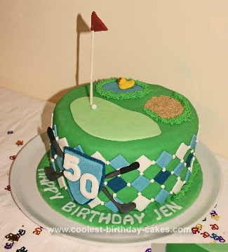 Homemade Golf Argyle 50th Birthday Cake