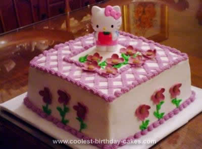 HOmemade Rose Bouquet Hello Kitty Birthday Cake