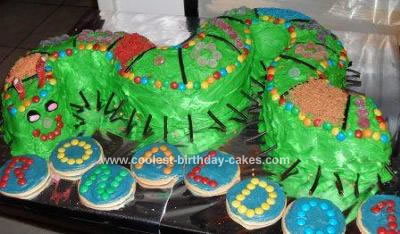 Homemade Green Worm Cake