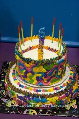 Homemade Groovy Tie Dye Peace Sign Birthday Cake