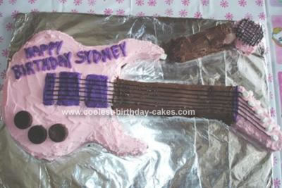 Homemade Pink Guitar With Microphone Cake