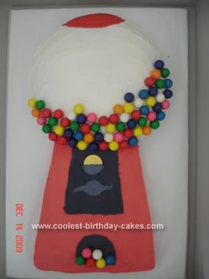 I got the idea for a Gumball Machine Cake from a friend and the recipe from