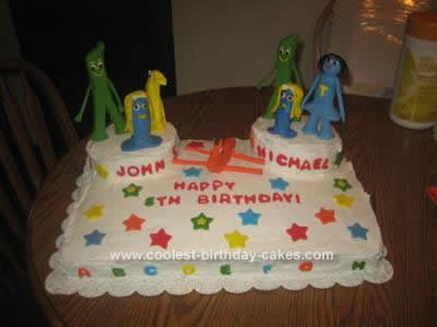 Homemade Gumby and Friends Birthday Cake