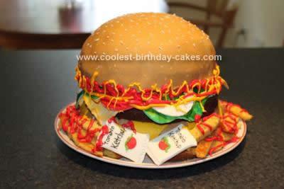 Homemade Hamburger and Fries Cake