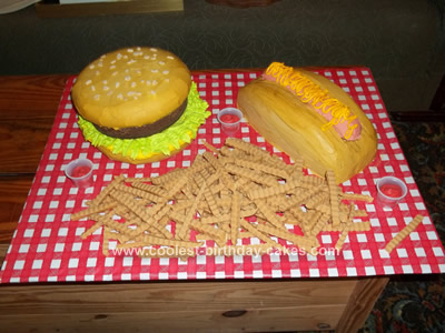 Homemade Hamburger Birthday Cake
