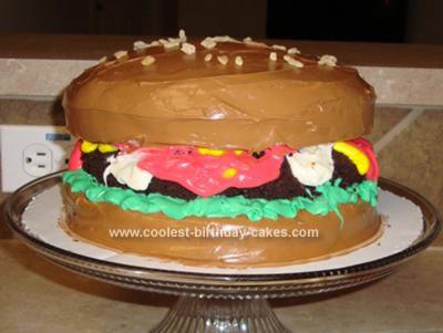 Homemade Hamburger Birthday Cake