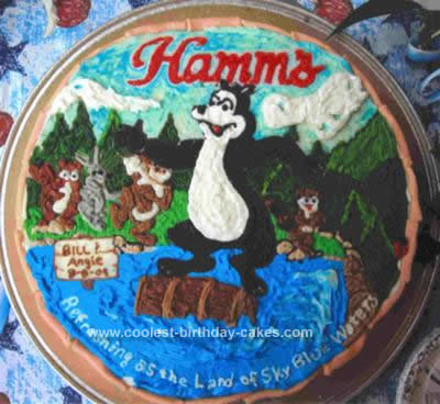 Homemade  Hamms Beer Bear Waterfall Grooms Cake