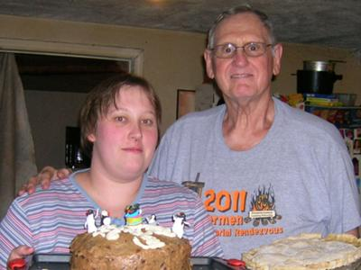 Sarah & Her Dad - her penguin cake and his peach pie