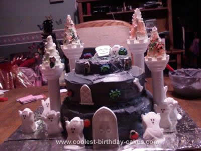 Homemade Haunted Castle Cake