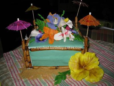 Homemade Hawaiian Luau Birthday Cake