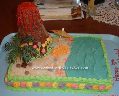 Homemade Hawaiian Luau Birthday Cake
