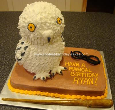 Harry Potter Birthday Cake on Homemade Hedwig The Owl Cake