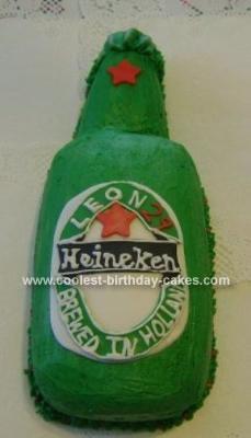 Homemade Heineken Beer Bottle Birthday Cake