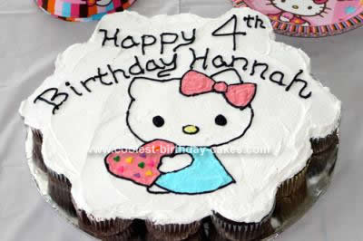 Homemade Hello Kitty 4th Birthday Cake
