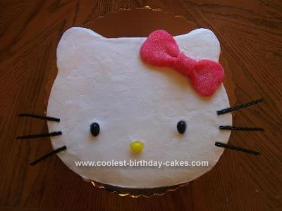 "This Hello Kitty birthday cake was baked in a 12"" square cake pan."