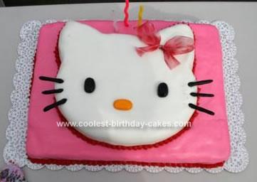 Homemade Hello Kitty Birthday Cake