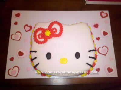 Homemade Hello Kitty Birthday Cake Design