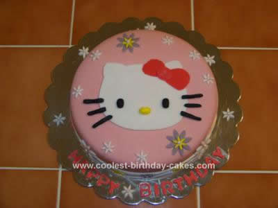 Homemade Hello Kitty 2 Tier Cake