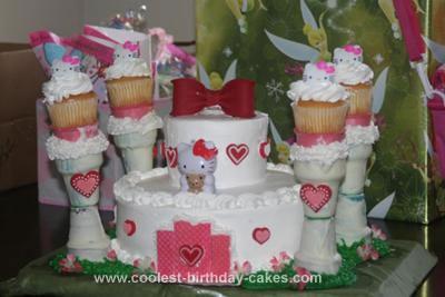 Homemade Hello Kitty Castle Cake