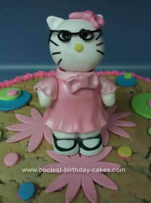 Homemade Hello Kitty Chocolate Chip Cookie Cake