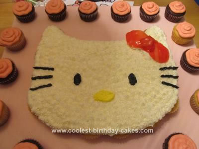 Homemade Hello Kitty Cupcake Cake