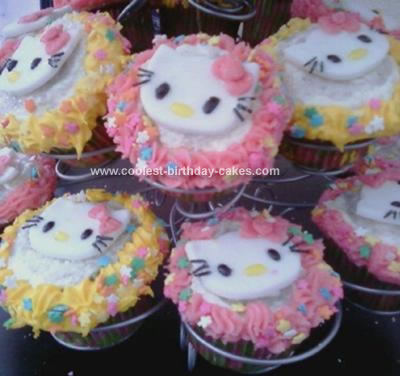 For this homemade Hello Kitty cupcakes birthday cake I baked up a few dozen