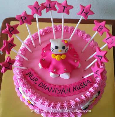 Homemade Hello Kitty Figurine Cake