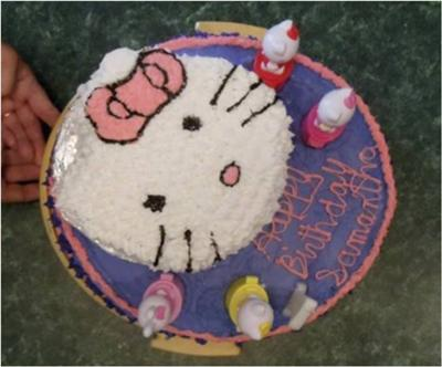 Homemade Hello Kitty First Birthday Cake