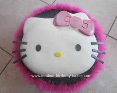 Homemade Hello Kitty Fondant Birthday Cake