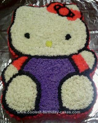 Homemade Hello Kitty Waving Birthday Cake