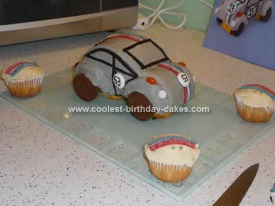 Homemade Herbie the Love Bug Birthday Cake