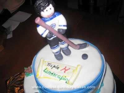 Homemade Hockey Themed Cake