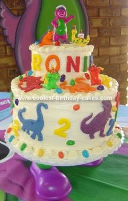 Homemade Barney the Dinosaur Cake