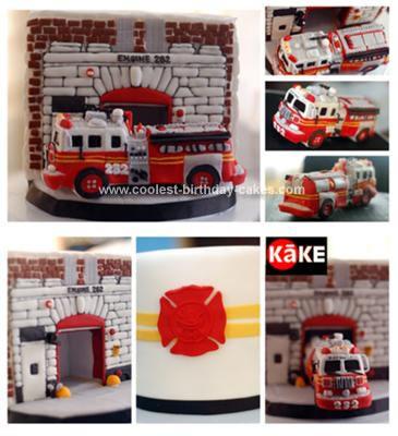 Homemade Firetruck Cake