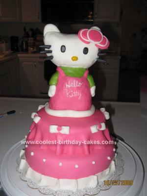 Homemade Hello Kitty Birthday Cake