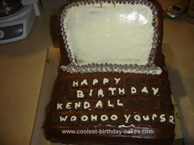 Homemade Laptop Birthday cake