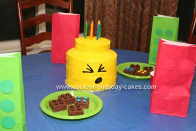 Homemade LEGO Mini-Man Head Shaped Cake