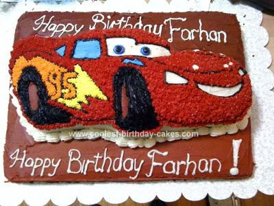 Homemade Birthday Cake on Coolest Homemade Lightning Mcqueen Birthday Cake 95