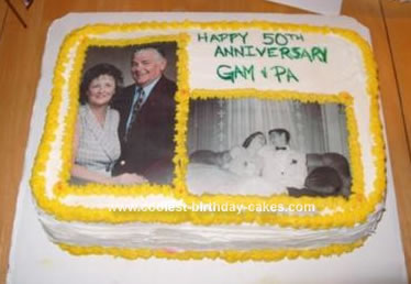 Coolest Homemade Photo 50th Anniversary Cake